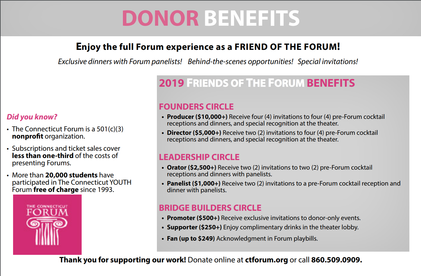Friends Of The Forum Enjoy Various Benefits Throughout